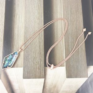 Kendra Scott Lilith abalone rose gold necklace